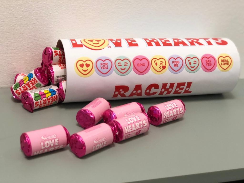 Personalised Love Hearts Tube